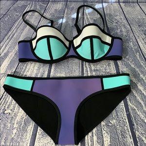 Triangl Two Piece Demi Cup Neoprene Bikini, XL